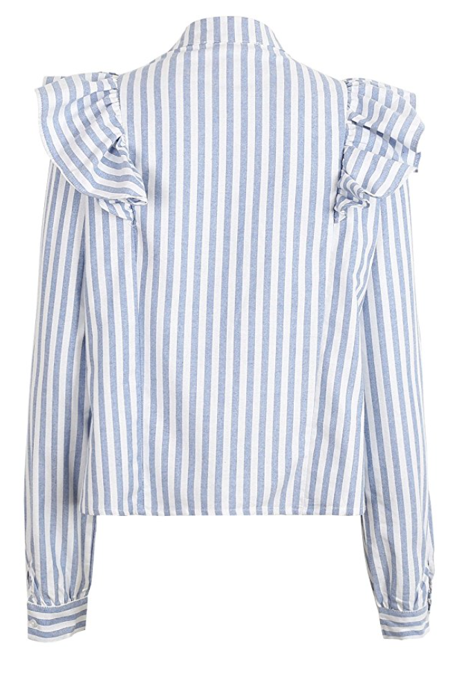Sex Kitten Striped Ruffle Blouse (Sizes X-Small - Large)