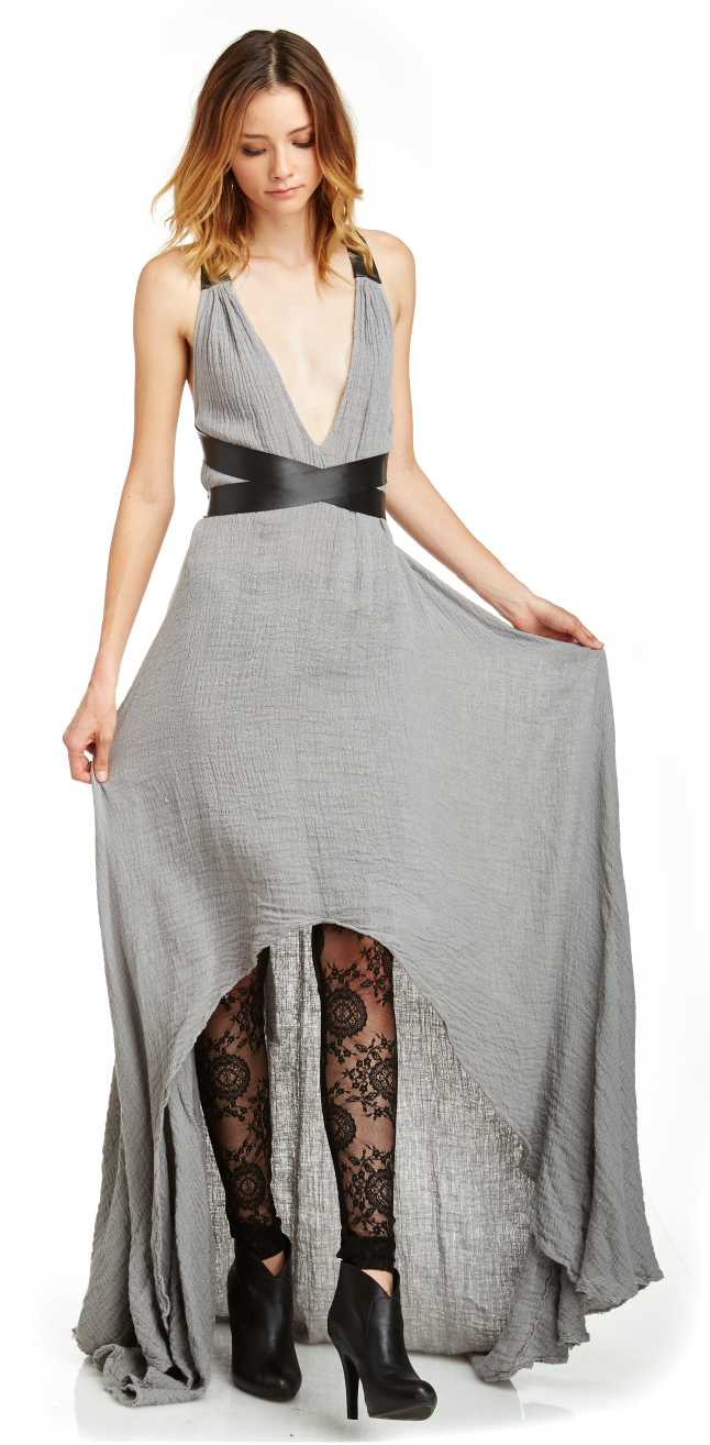 Mark and Estel Collection Leather & Linen Swing Gown