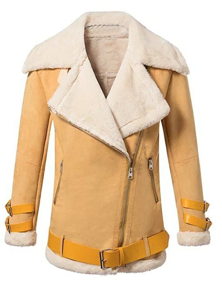 I LOVE MY FAUX SHEARLING BIKER JACKET (Medium - Large)
