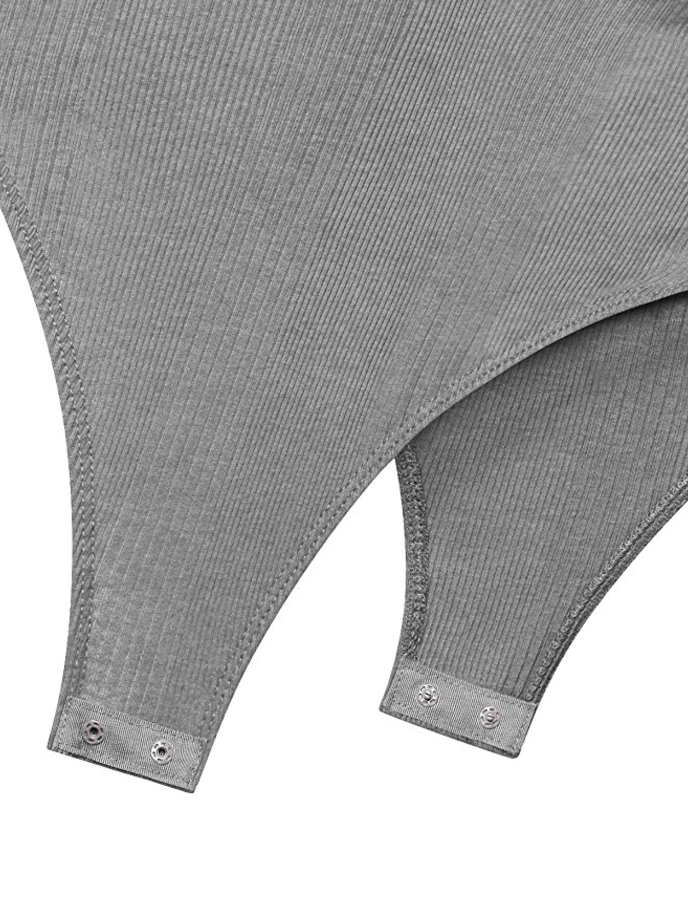 Heathery Grey Ribbed Up and Sexy Bodysuit (Small - Large)