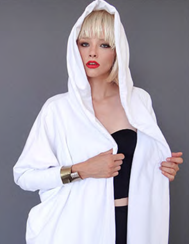 Mark and Estel / Temple Maxi Hooded Sweatshirt Wrap / in White or Black