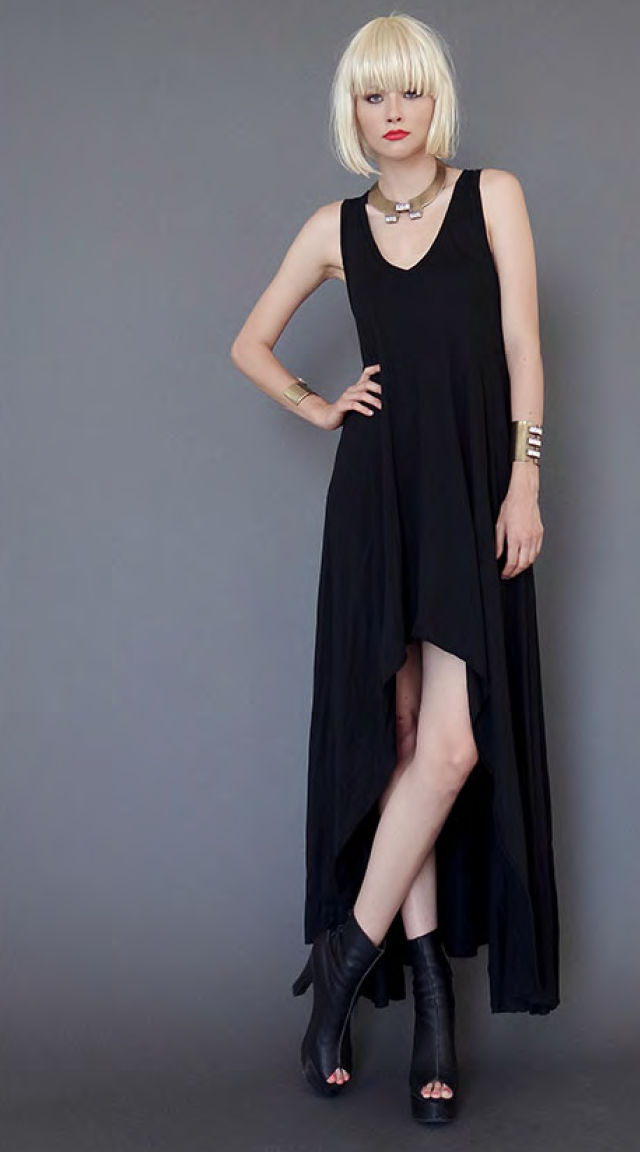 Mark and Estel V Neck High Low Gown