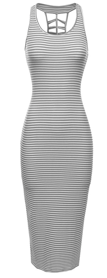 Striped Cut Out Ribbed Tank Dress in Grey White Stripes (Small - 2XLarge)