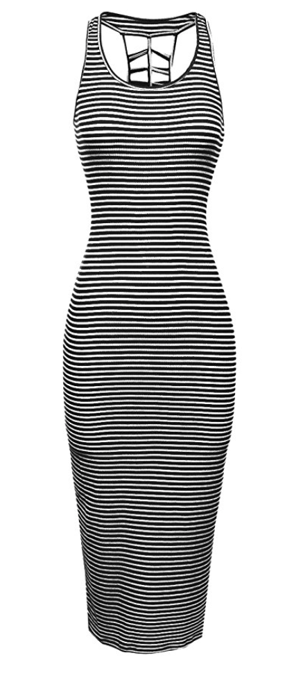 Striped Cut Out Ribbed Tank Dress in Black White Stripes (Small - 2XLarge)