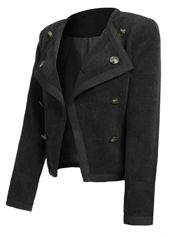 Corduroy Lonely Hearts Coat in Black (Sizes 2 - 4)
