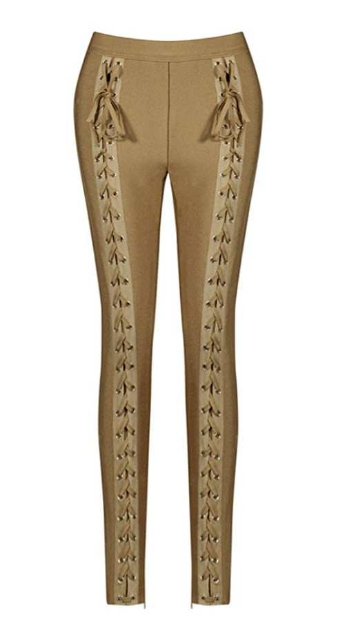 Lace Up Rocker Tight Trousers in CAMEL (Sizes 2 - 10)