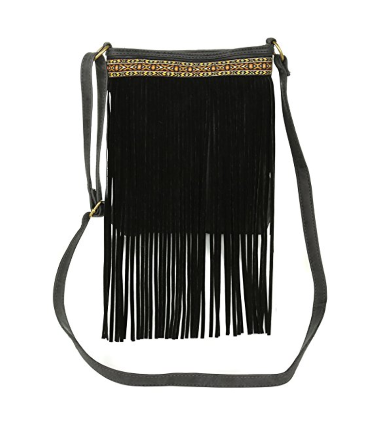 Vegans Can Rock Embroidered Fringe Cross Body Bags Too