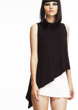 Mark and Estel / Asymmetrical Tank / Size Small, Black and White