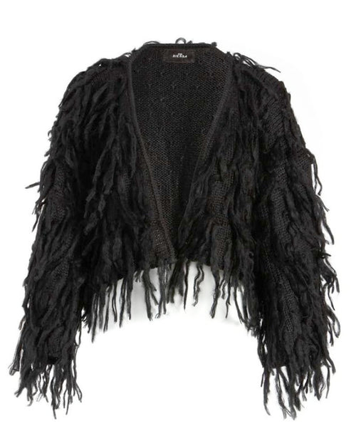 Chubacca Shaggy Sweater Jacket in Black