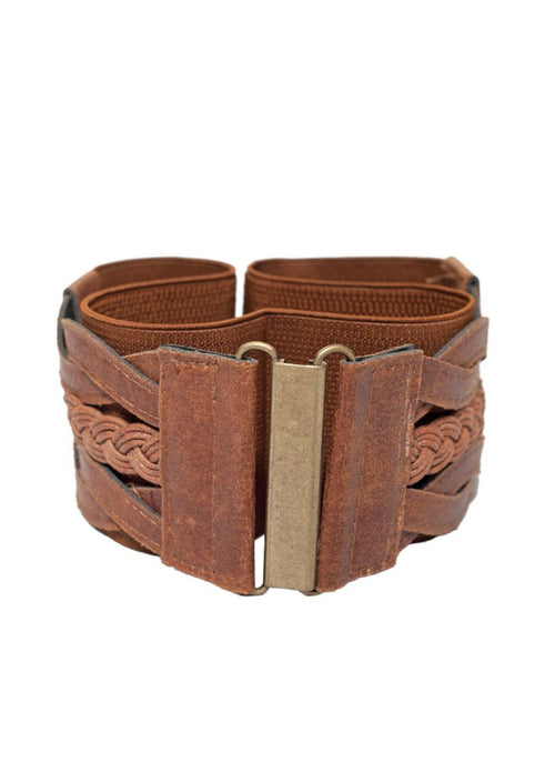 Brown Leather Braided Belt (Fits Waist 34 - 46 inches)