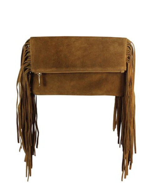 Amazing Brown Suede Fringe Clutch