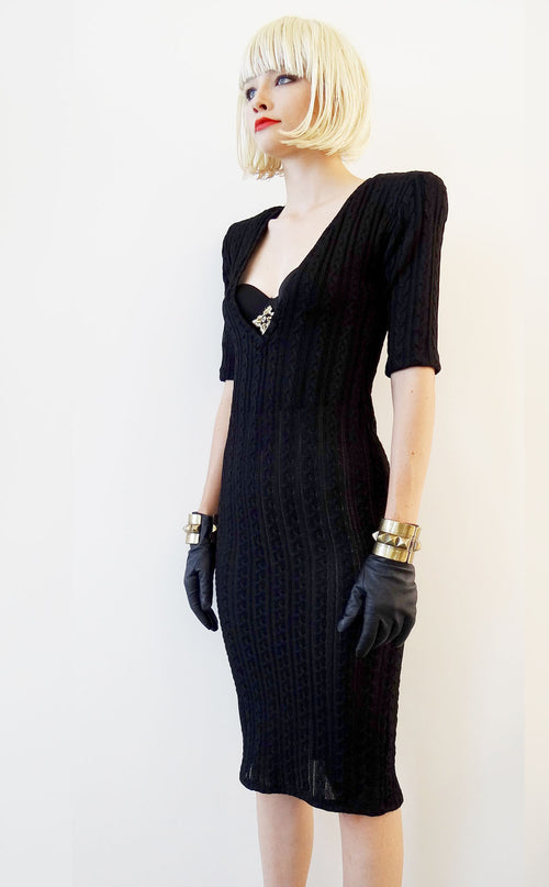 Mark and Estel Cable Knit Dress with Embellished Bustier