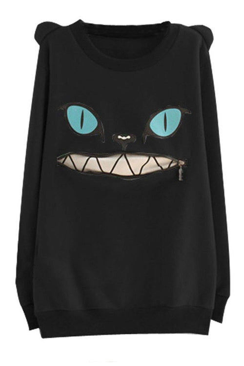 Cat Zipper-Mouth & Ears Sweatshirt