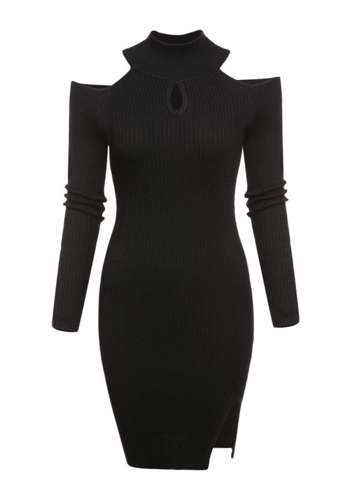 Cut Out Sweater Dress in Black