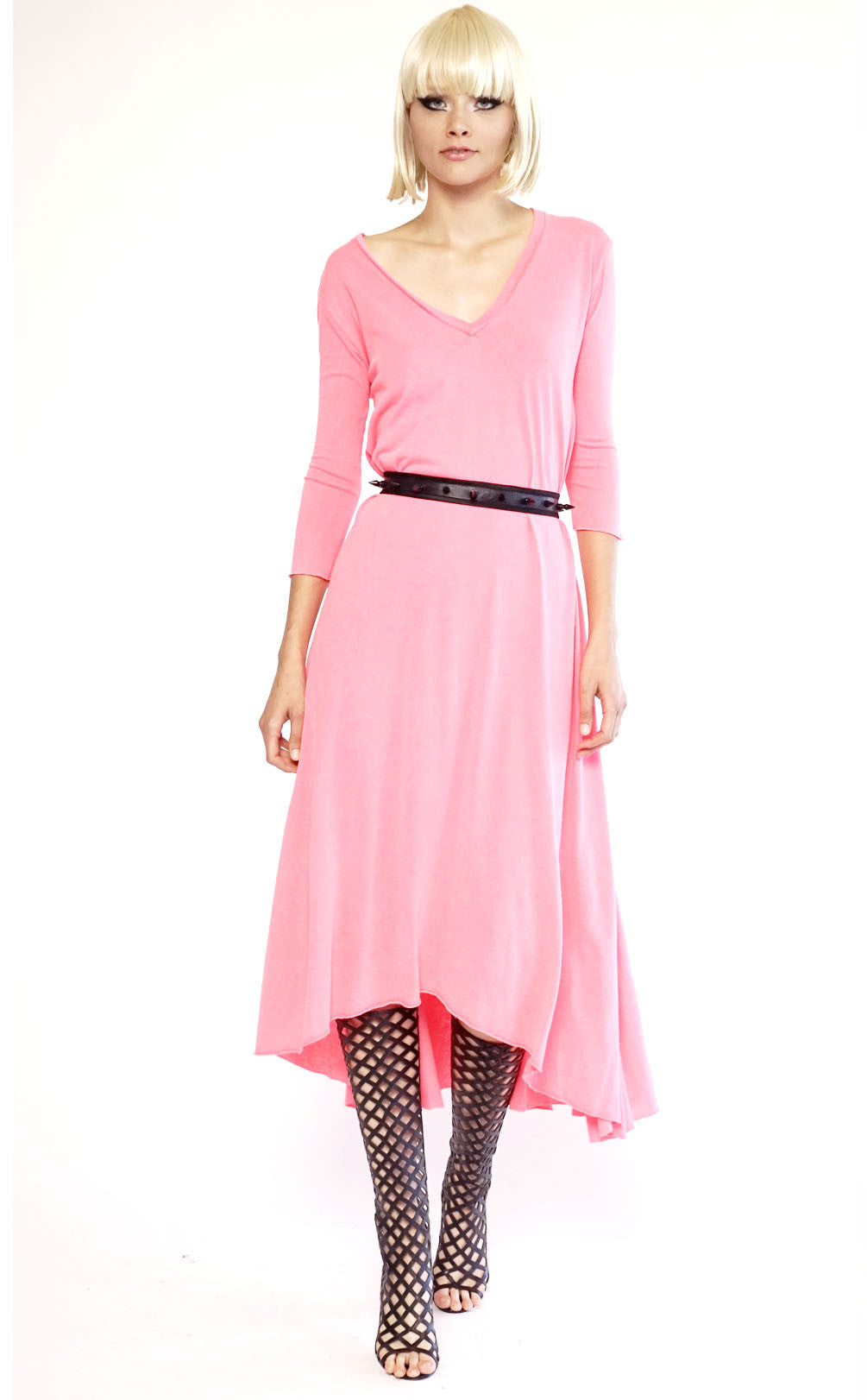 Mark and Estel V Neck 3/4 Sleeve Gown Neon Pink Medium