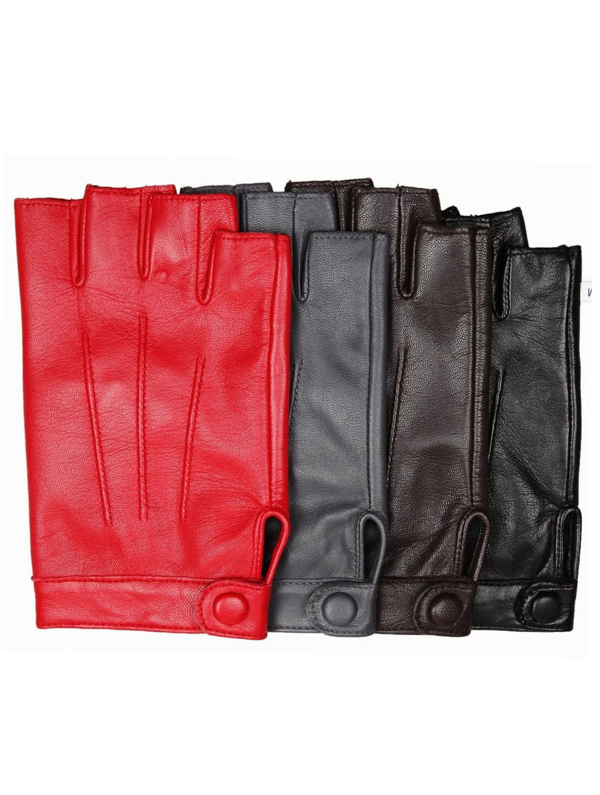 Rocker Fingerless Gloves in Red, Black, Grey, or Brown