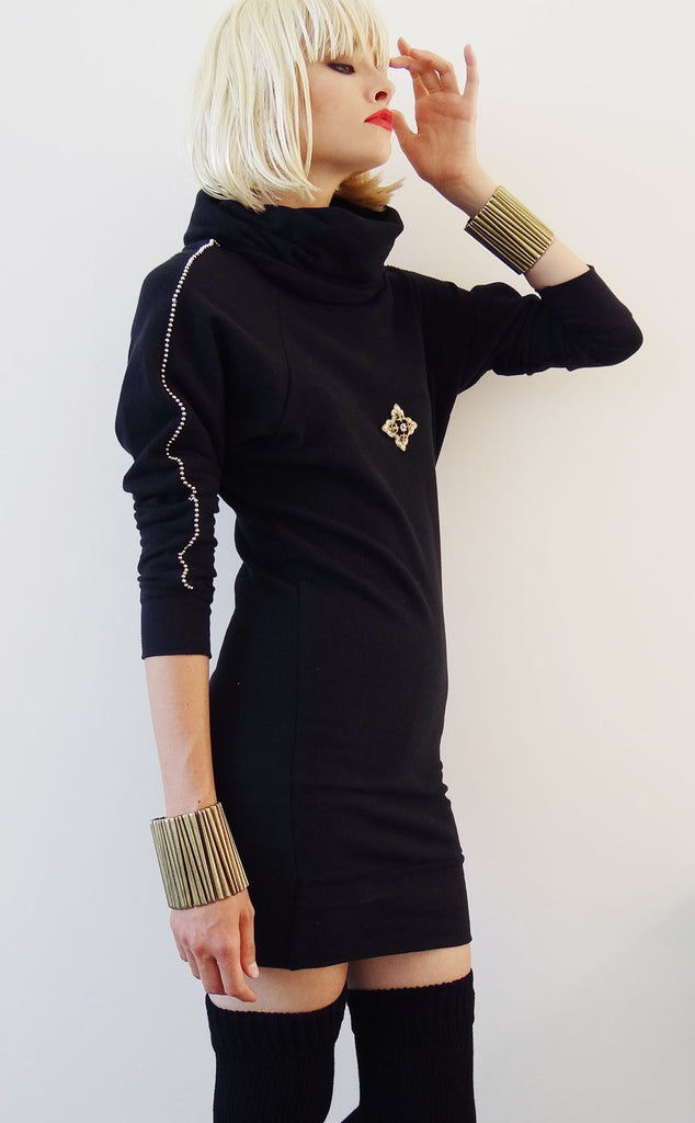 Mark and Estel Embellished Sweatshirt Dress with Gold Bead Detail