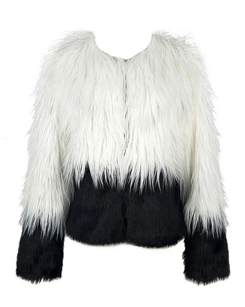 Black and White Rockstar Faux Fur Coat