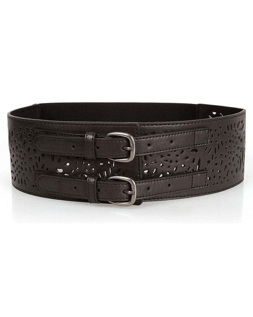 FAUX Leather Cut-Out Waist Belt in BLACK