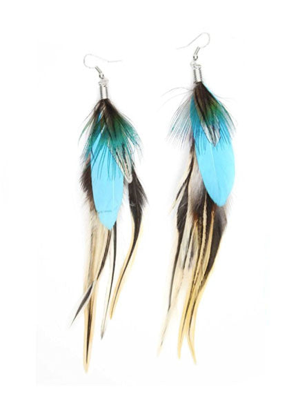 Feathers + Turquoise Earrings