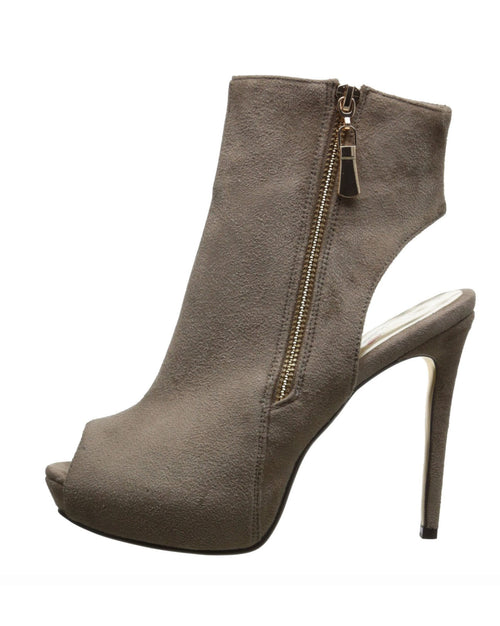 Grey Ankle Zipper Heel Bootie