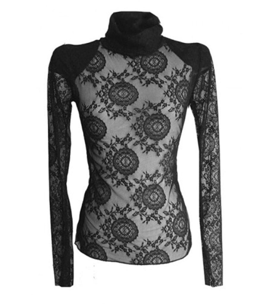 Mark and Estel Collection- Black Lace Turtleneck with Shoulder Pads