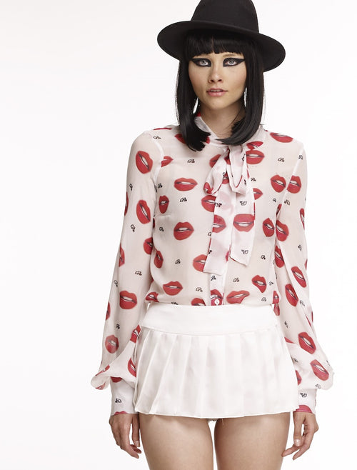 Mark and Estel Collection- Lips Chiffon Blouse