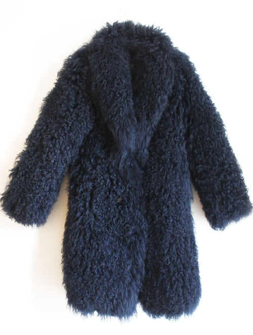 Rockstar Mongolian Lamb Fur Coat in Navy (with or without a hood)