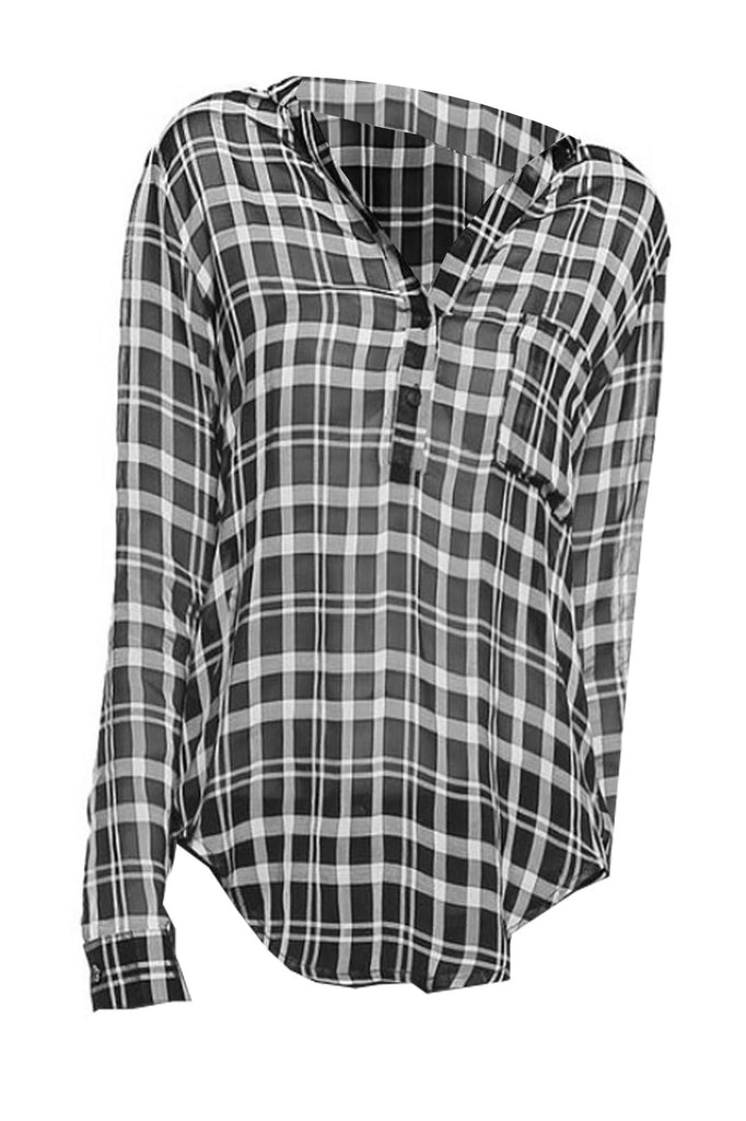 Button-Up Semi Sheer Blouse