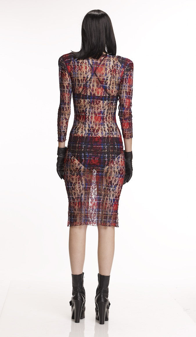 Mark and Estel Collection Plaid Lace Dress