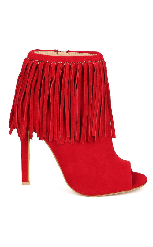 Red Hot Peep Toe Fringe Boots