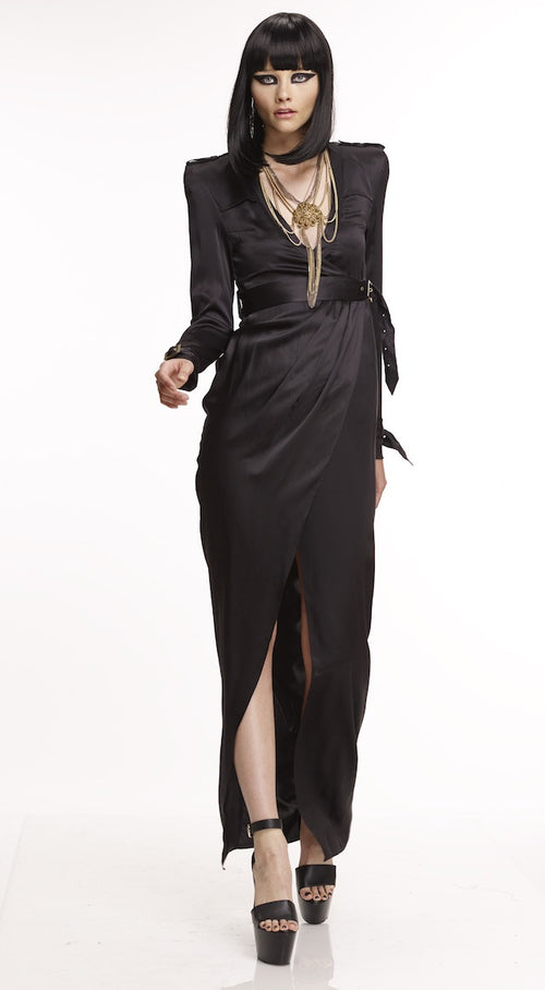 Mark and Estel Collection Silk Trench Wrap Dress