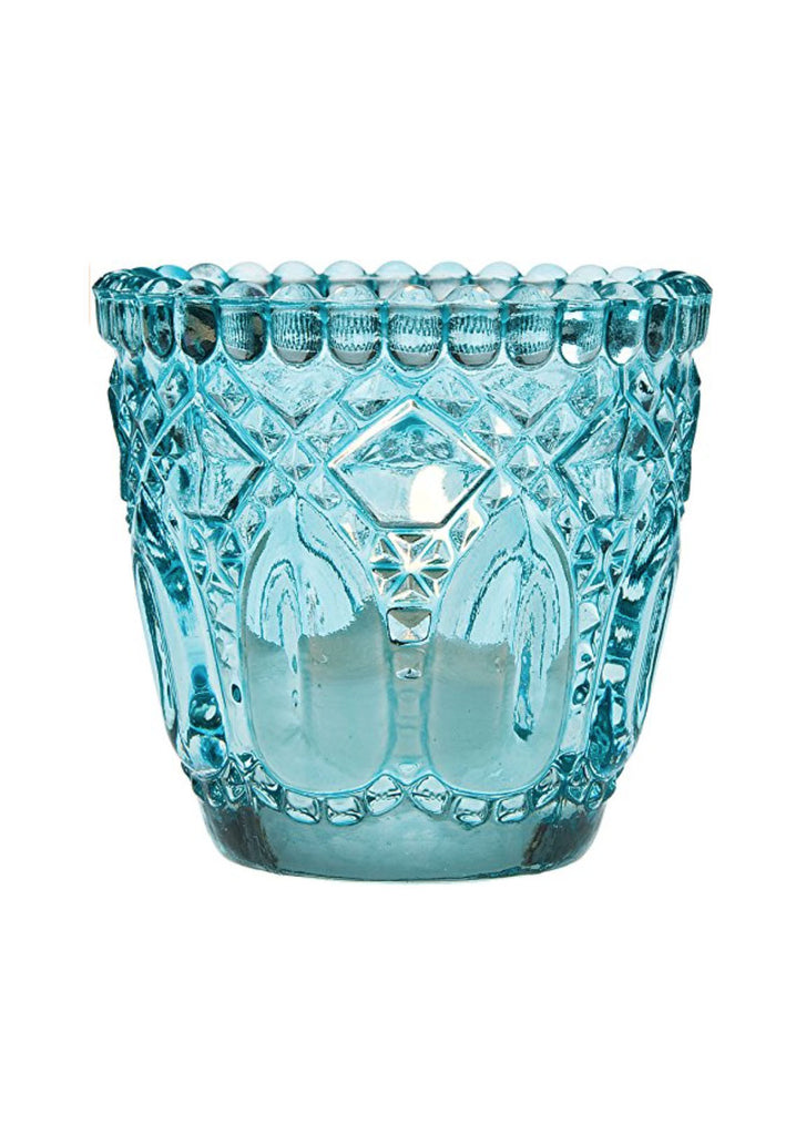 Starry Night Vintage Inspired Turquoise Glass Candle Holder