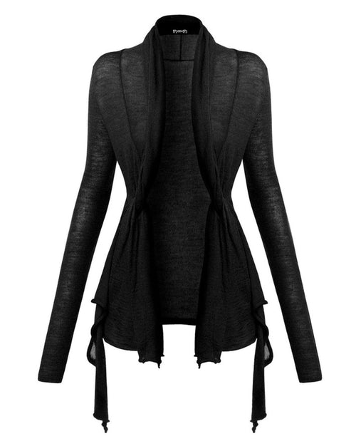 Black Wrap Wool Cardigan