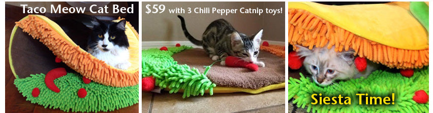 Taco Meow Cat Bed just $59 with 3 Chili Pepper Catnip toys