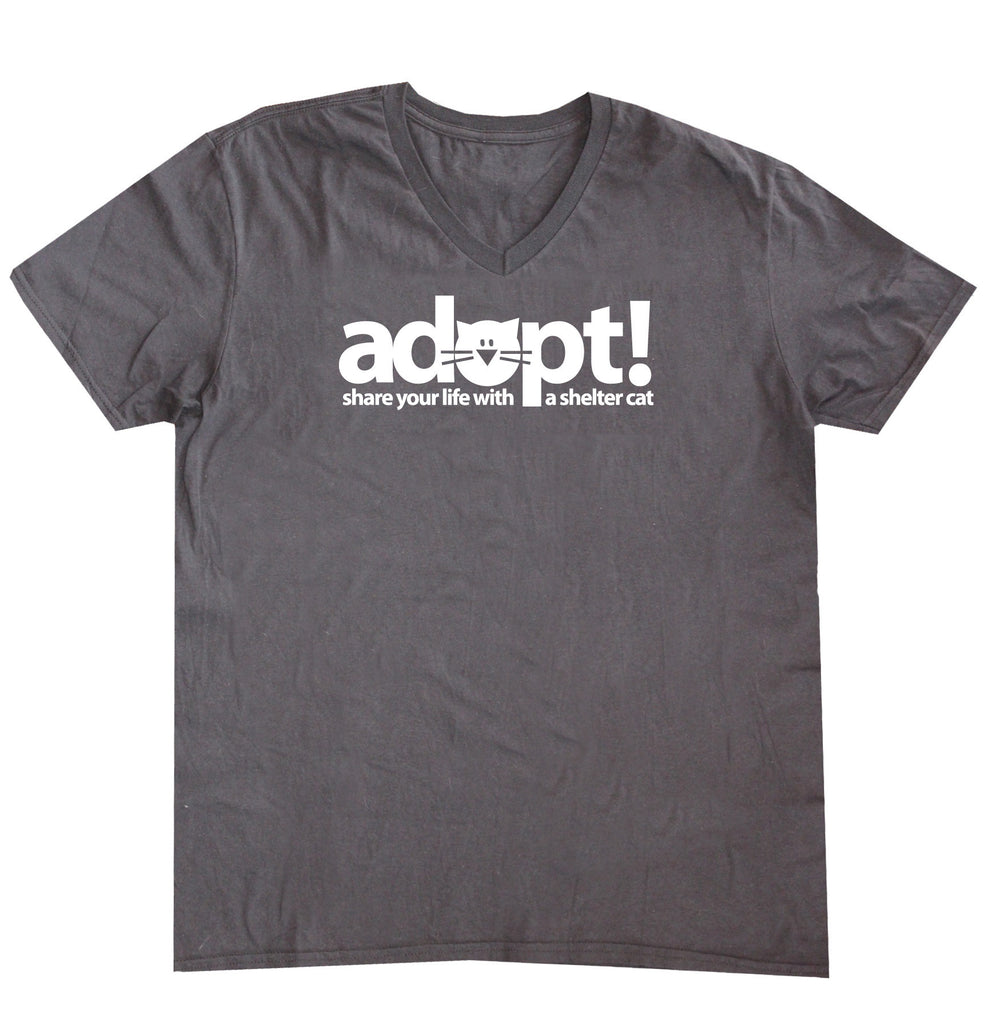 V-Neck T-Shirt 'Adopt a Shelter Cat'