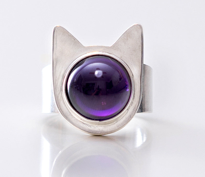Handmade Sterling Cat Ring