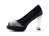 Womens Trendy Open Toe Clear Heels
