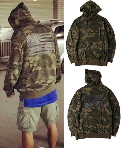 Mens Camo American Flag Pullover Hoodie
