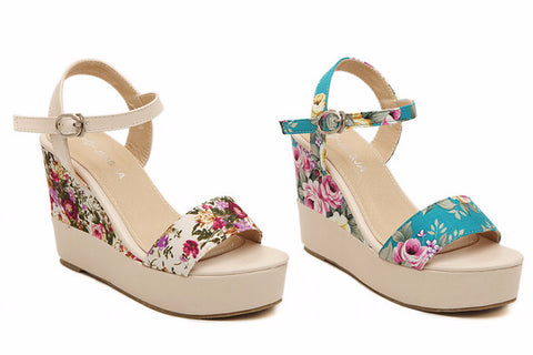 Beautiful Floral Print Ankle Strap Platform Wedges