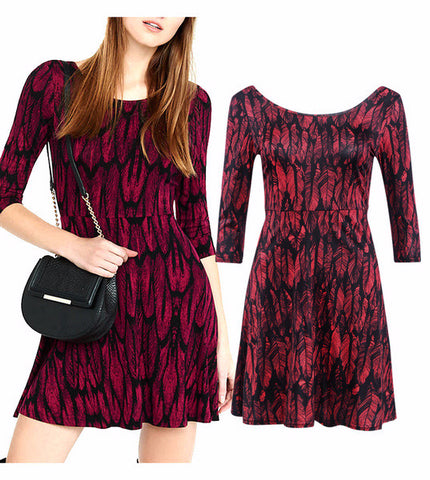 Beautiful Design Print Long Sleeve Casual Dress