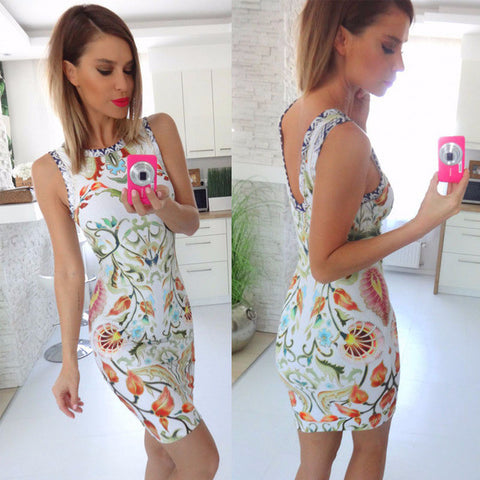 Beautiful Print Design Sleeveless Slim Mini Dress