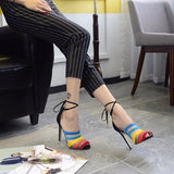Beautiful Rainbow Mesh Peep Toe Sandal High Heels