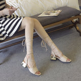 Beautiful String Tie Low Heel Sandals