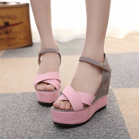 Beautiful Two Tone Cross Strap Platform Wedges