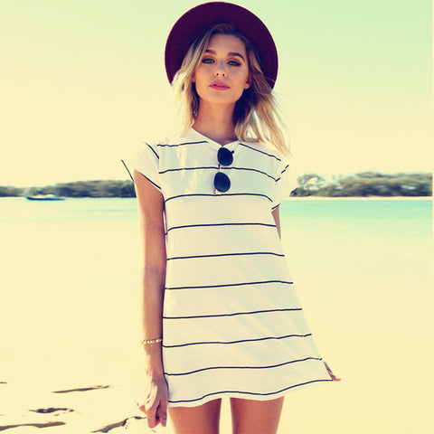 Beautiful White Stripe Short Sleeve Summer Mini Dress