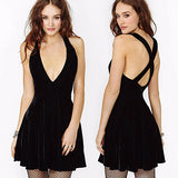 Beautiful Black V-Neck Slim Summer Dress