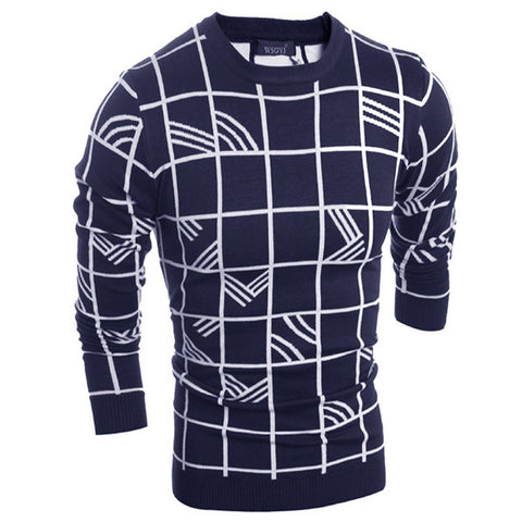 Mens Trendy Block and Wave Patterned Sweater
