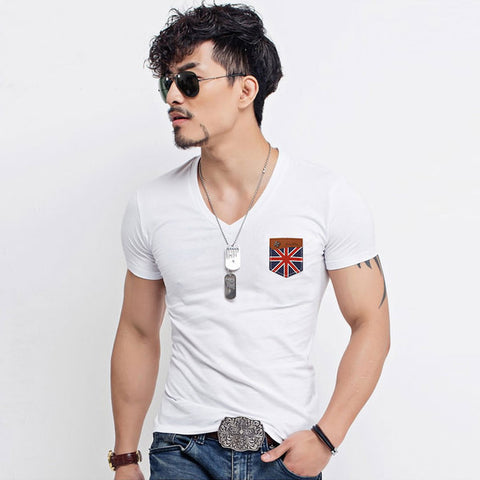 Mens Slim Cool British Patch Tee