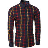 Mens Slim Casual Plaid Dress Shirt